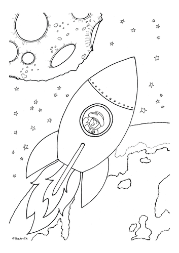 Space rocket colouring sheet