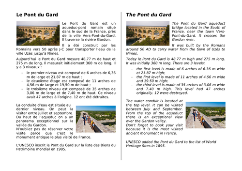 Le Pont du Gard - bilingual texts  with activities (French and English)
