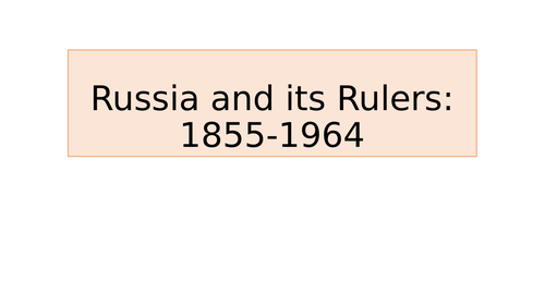Introduction 1 to OCR Russia and its Rulers Y318