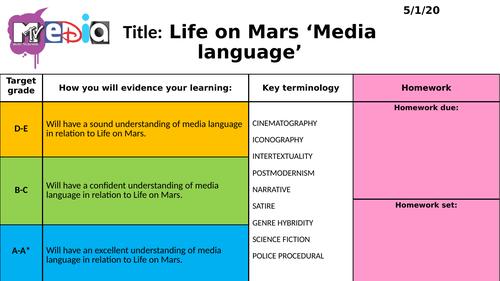 Life on Mars media language