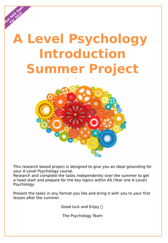 AQA Psychology A Level Year 12 Transition Summer Project