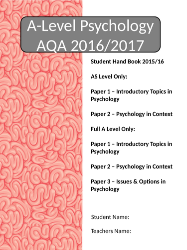 Psychology A Level AQA Student Handbook