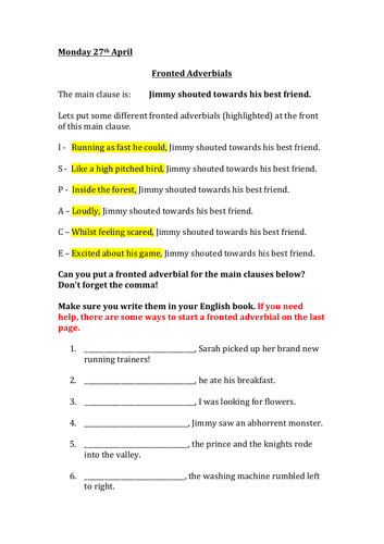 Fronted Adverbials worksheet