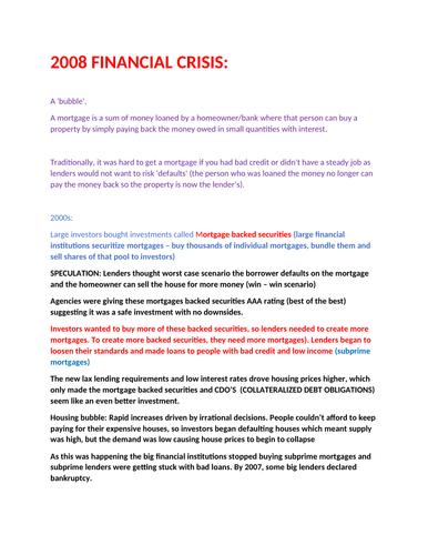 FINANCIAL CRISIS NOTES- A LEVEL ECONOMICS
