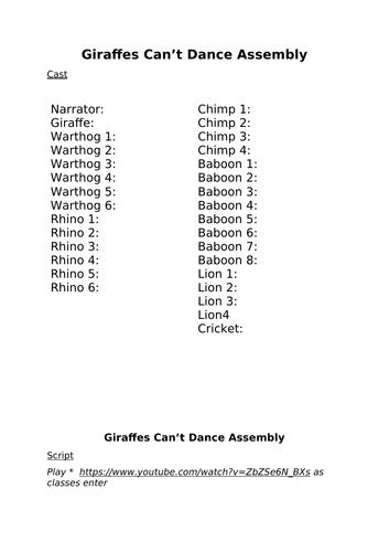 'Giraffes Can't Dance' Assembly Script