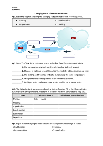Distance Learning | Changing States of Matter - Worksheet