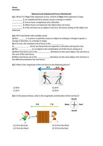 Distance Learning | Balanced and Unbalanced Forces - Worksheet