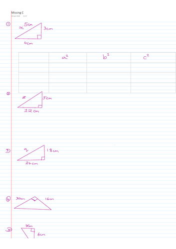 FREE Home Learning Pythagoras Yheorem