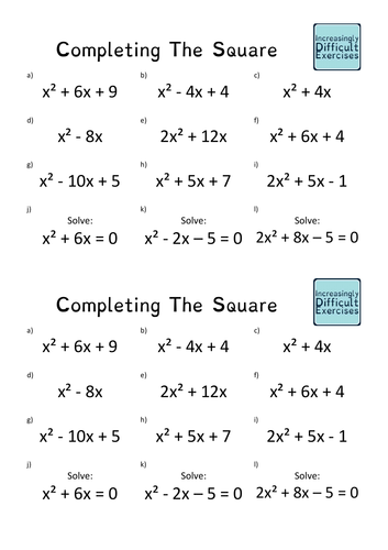 Increasingly Difficult Questions - Completing the Square