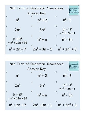 Increasingly Difficult Questions - nth Term of a Quadratic Sequence