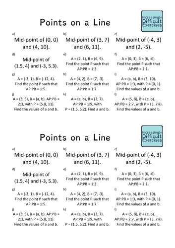 Increasingly Difficult Questions - Ratio and Points on a Line