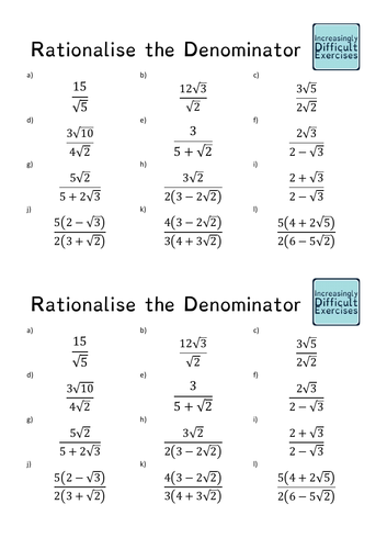 Increasingly Difficult Questions - Rationalise the Denominator