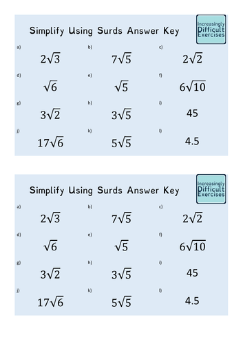 Increasingly Difficult Questions - Simplify Using Surds