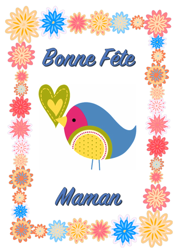 Bonne Fête Maman Mother's Day in French card with activities