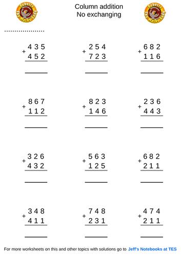 Column addition 3 digits no exchanging