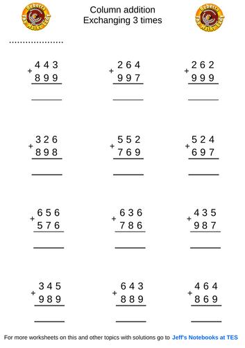 Column addition 3 digits exchange 3 times