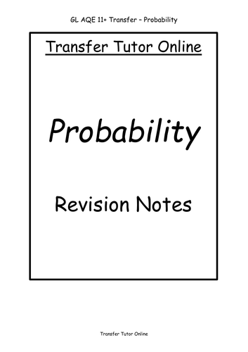 GL AQE 11+ Transfer Test Probability Revision Notes