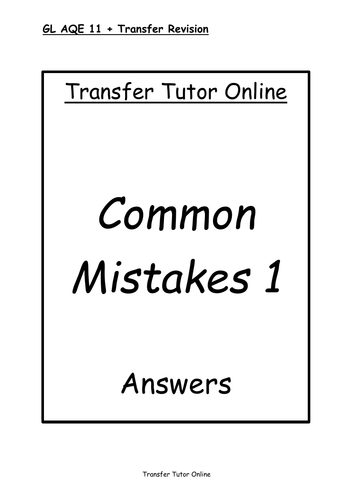 AQE GL 11+ Transfer Test Common Mistakes Pack 1