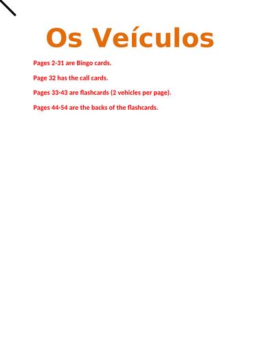 Veículos (Vehicles in Portuguese) Bingo and Flashcards