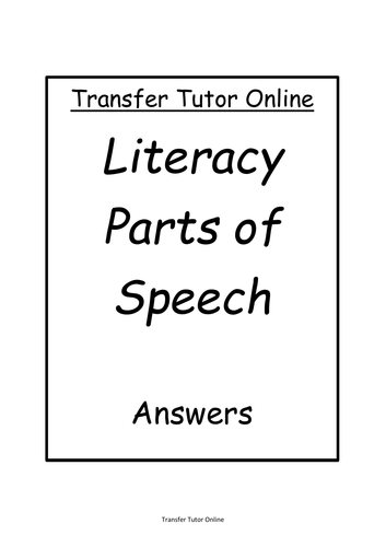 GL AQE 11+ Transfer Test Literacy Parts of Speech Pack