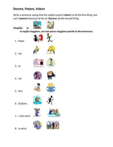 Dovere Potere Volere Italian Verbs Worksheet