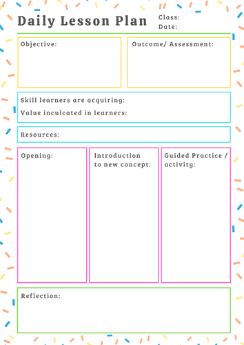 Daily Lesson Plan Template Printable