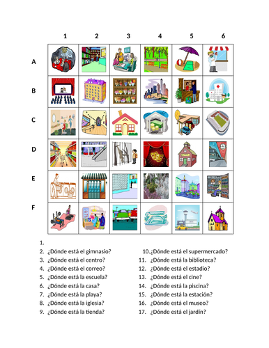 Lugares (Places in Spanish) Find it Worksheet Distance Learning