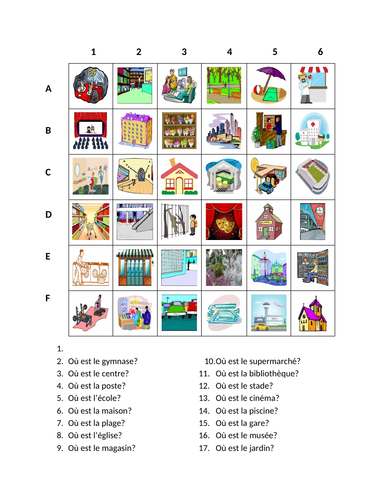 Endroits (Places in French) Find it Worksheet Distance Learning