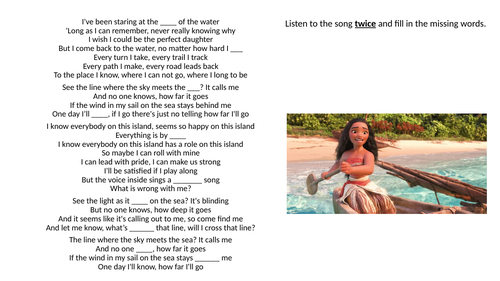 Song Lyrics Reading and Listening Comprehension Powerpoint