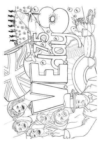 V.E. Day colouring sheet
