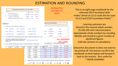Estimation and Rounding Workbook