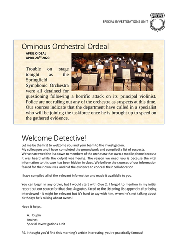 Music Murder Mystery Activity