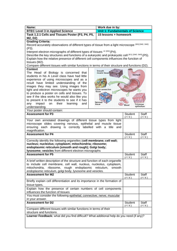 APPLIED SCIENCE UNIT 1 - Fundamental science Task 1:2:1  Cells and tissues poster