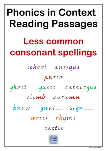 Phonics in Context Reading Passages: Less common consonant spellings