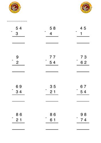 Column subtraction 2 digits no exchanging