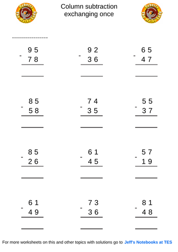 Column subtraction 2 digits with exchanging