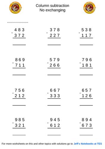 Column subtraction 3 digits no exchanging