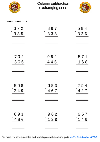 Column subtraction 3 digits exchanging once
