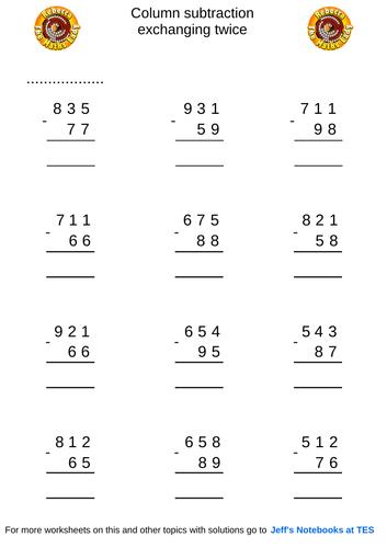 Column subtraction 3 digits exchanging twice