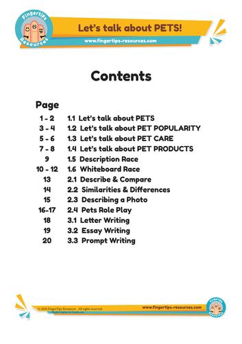 Contents for Pets Unit