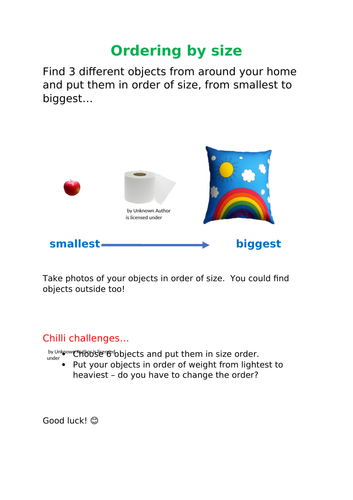 Size Ordering - EYFS - Home Learning