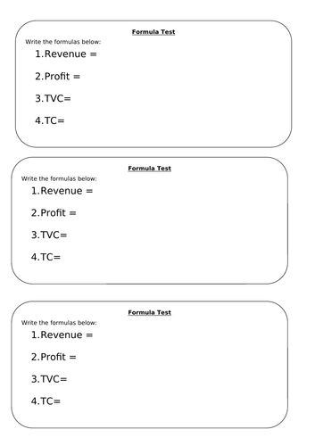 Profit Worksheets