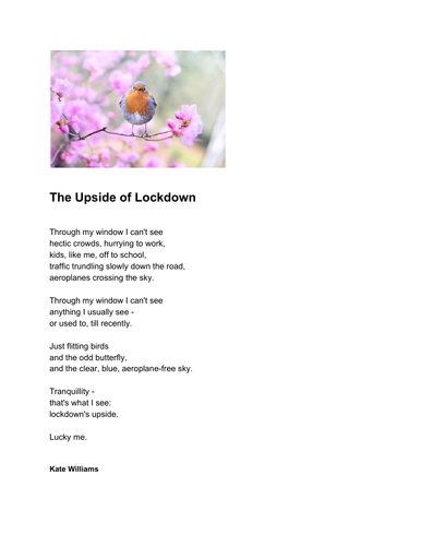 Coronavirus: upbeat poem about the  lockdown