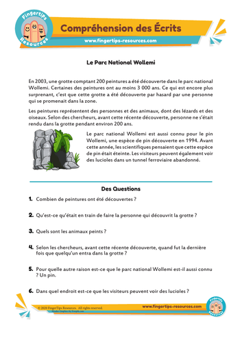 Le Parc National Wollemi - Compréhension des Écrits