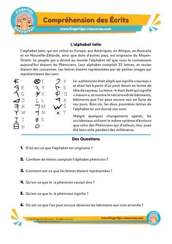 L'alphabet latin - Compréhension des Écrits