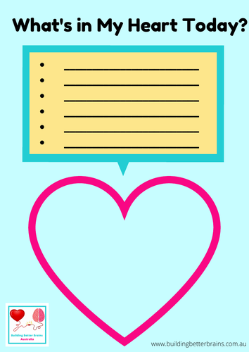 What's In My Heart Today Worksheet For Kids
