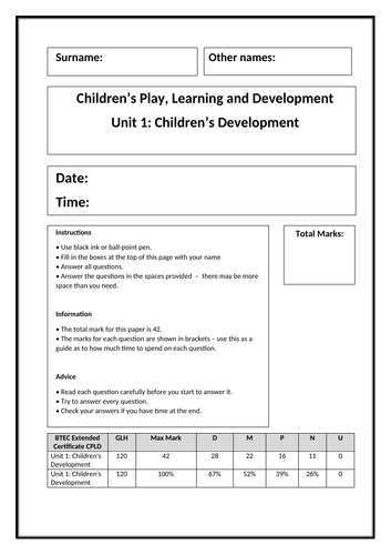 Children's Development - practice exam paper (Learning aim D)