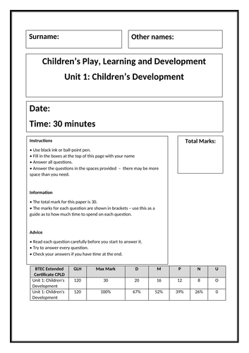 CPLD Children's Development - practice exam paper (learning aims A&B)