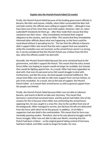 Explain why the Munich Putsch failed (12 marks) - A*/Grade 9 History Essay