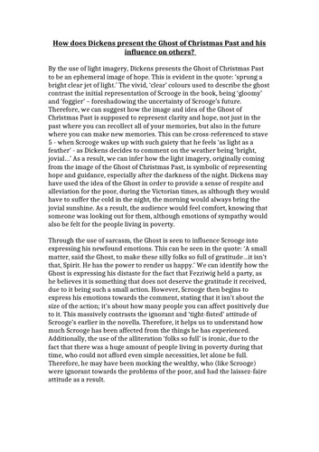 Ghost of Christmas Past - A*/Grade 9 English Essay